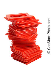 slide frames - long stack of red slide frames
