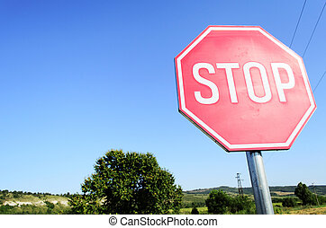 Stop Sign - Stop sign in country road