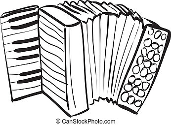 Accordion Doodle - Vector illustration of accordion in black...