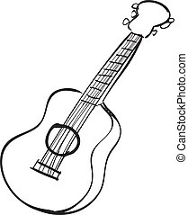 Guitar Doodle - Vector illustration of guitar in black and...