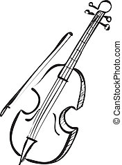 Cello Doodle - Vector illustration of cello in black and...