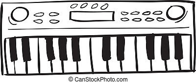 Musical Keyboard Doodle - Vector illustration of musical...