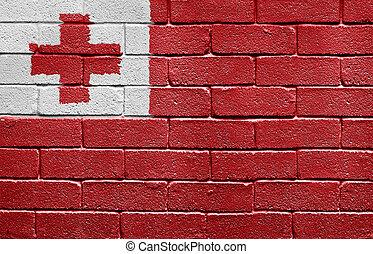 Flag of Tonga on brick wall