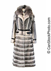Black and White fur coat - White fur coat with belt isolated...