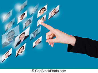 Businesswoman Selecting Candidate On Digital Interface -...