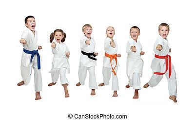 Seis, joven, atletas, golpear, mano