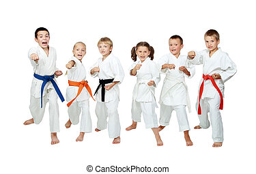 Children perform techniques karate - Young children in...