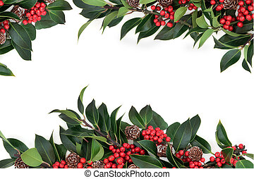 Holly Berry Border - Holly background border decoration with...