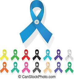 ribbon awareness, set of multicolored ribbons in a loop,...