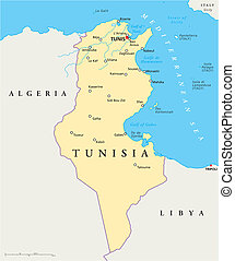 Tunisia Political Map - Political map of Tunisia with...
