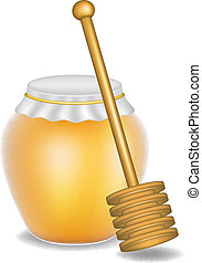 Sweet honey and wooden honey dipper on white background