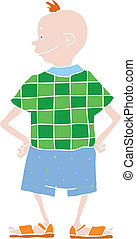 boy in shorts, vector illustration