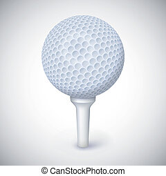 Golf ball on white tee.