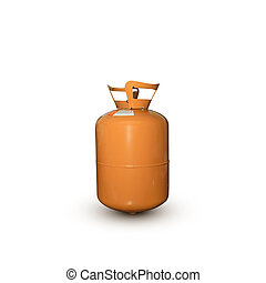 refrigerant old gas tank orange r404 on white background.