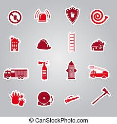 fire brigade stickers set eps10