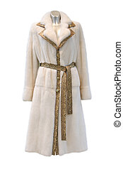 White fur coat with belt isolated on white