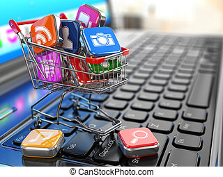 Store of laptop software Apps icons in shopping cart 3d