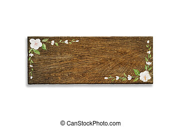 old wooden sign have flower painting isolated on a white...