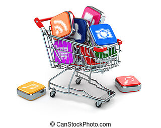 Apps icons in shopping cart. Store of  computer software. 3d