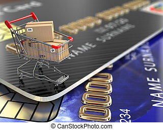 E-commerce. Shopping cart and credit cards. 3d
