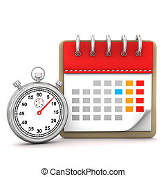 Calender Stopwatch - Calendar with stopwatch on the white...