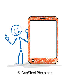 Stickman Smartphone Ok - Stickman with with a smartphone on...