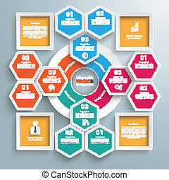 Big Circle Colored Infographic Honeycomb 4 Squares -...