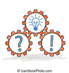 tres, engranajes, pregunta, idea, respuesta