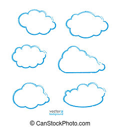 Handdrawn Blue Clouds Set