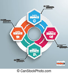 Big Circle Colored Infographic 4 Hexagons - Infographic with...