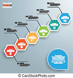 Hexagon Chart Growth - Infographic with hexagons on the grey...