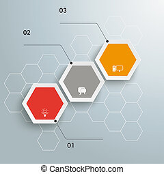 Hexagon Chart Growth 3 Options - Infographic with hexagons...