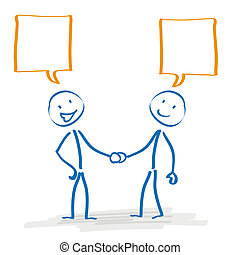 Stickman Handshake Speech Bubbles - Stickman with speech...