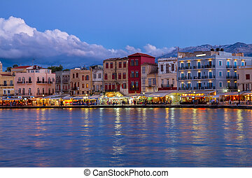 venetian habour of Chania, Crete, Greece - venetian habour...