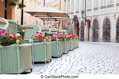 Street cafe in the historical district of Prague, the Czech...