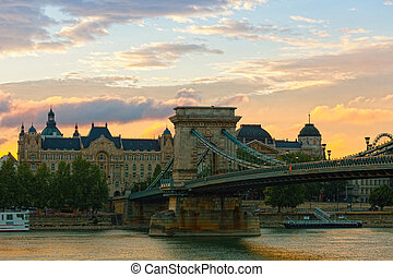 View of Secheni Bridge at sunrise, Budapest, Hungary