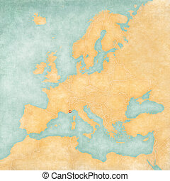 Map of Europe - Monaco (Vintage Series) - Monaco on the map...