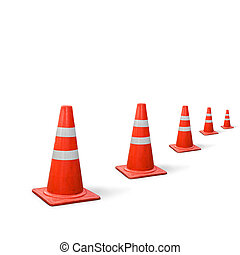 old traffic cones on white background.