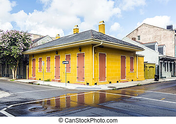 building in the French Quarter in New Orleans - historic...