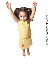 Preschool girl with arms raised above head - Little toddler...