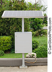 Solar Panels Against ,large solar panel and junction boxes