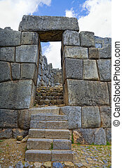 Inca fortress - Ruins of Inca fortress of Sacsayhuaman near...