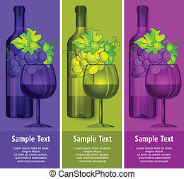 Bottle wine with grapes and glasses