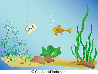 illustration with fish and sea - vector illustration with...
