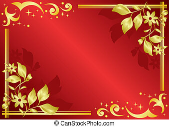 red card with golden decorations - vector red card with...