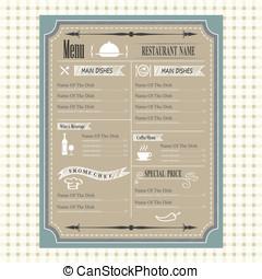vintage of restaurant menu design