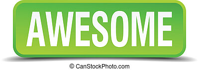 awesome green 3d realistic square isolated button