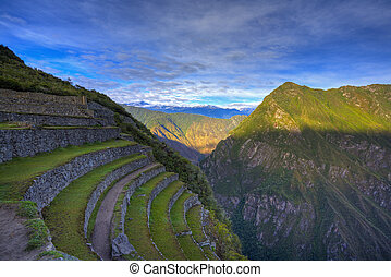 Terraces of Machu Picchu - Terraces at Machu Picchu, Peru...