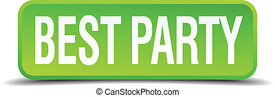 best party green 3d realistic square isolated button