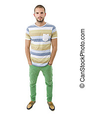 man full body - young casual man full body in a white...